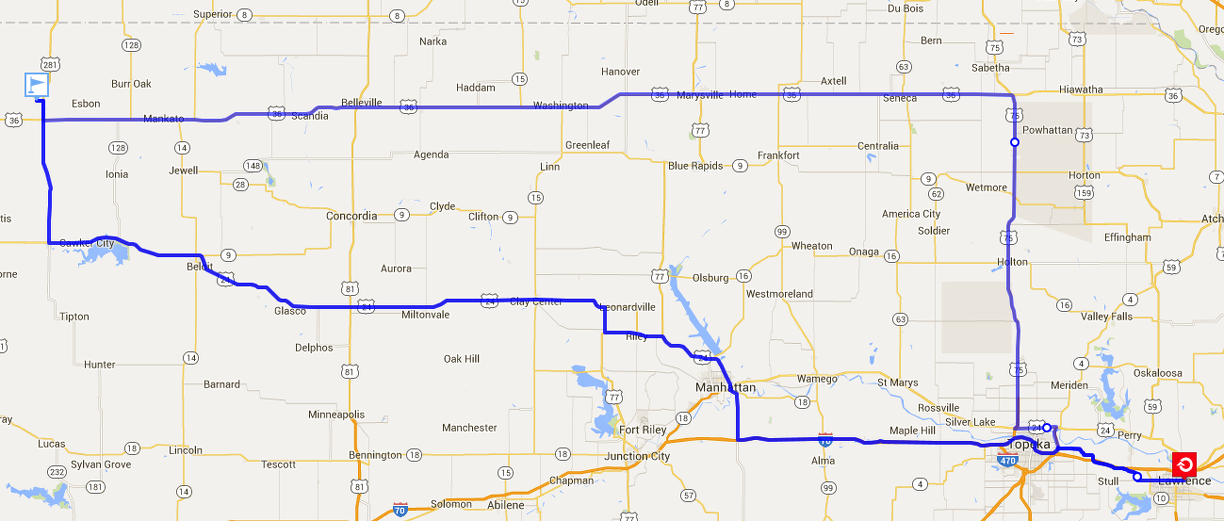 Route from Lawrence to Geographical Center of US