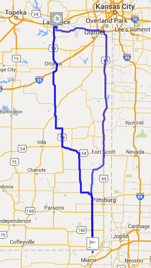 Route Map from Lawrence to Picher and back